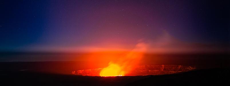 Landausflug über dem Vulkan