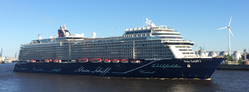 Neue Mein Schiff 1 in Hamburg vor Steinwerder