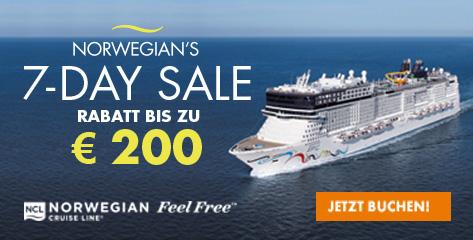 7-Day-Sale von Norwegian Cruise Line bis 31.08.2016