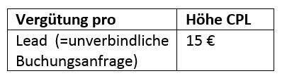 Affiliate CPL pro Buchung
